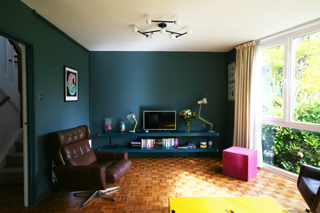 ON&ON made to measure shelving system finished blue green to match the walls
