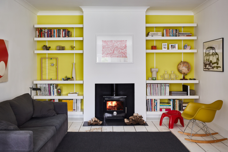 Alcove shelving with white made to measure shelves and fixings