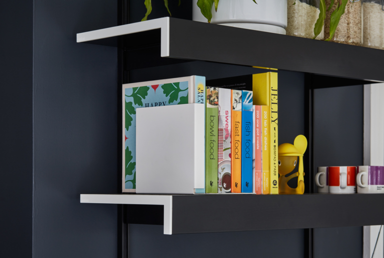 Black made to measure wall shelving