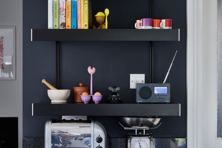 Wall shelving system in black