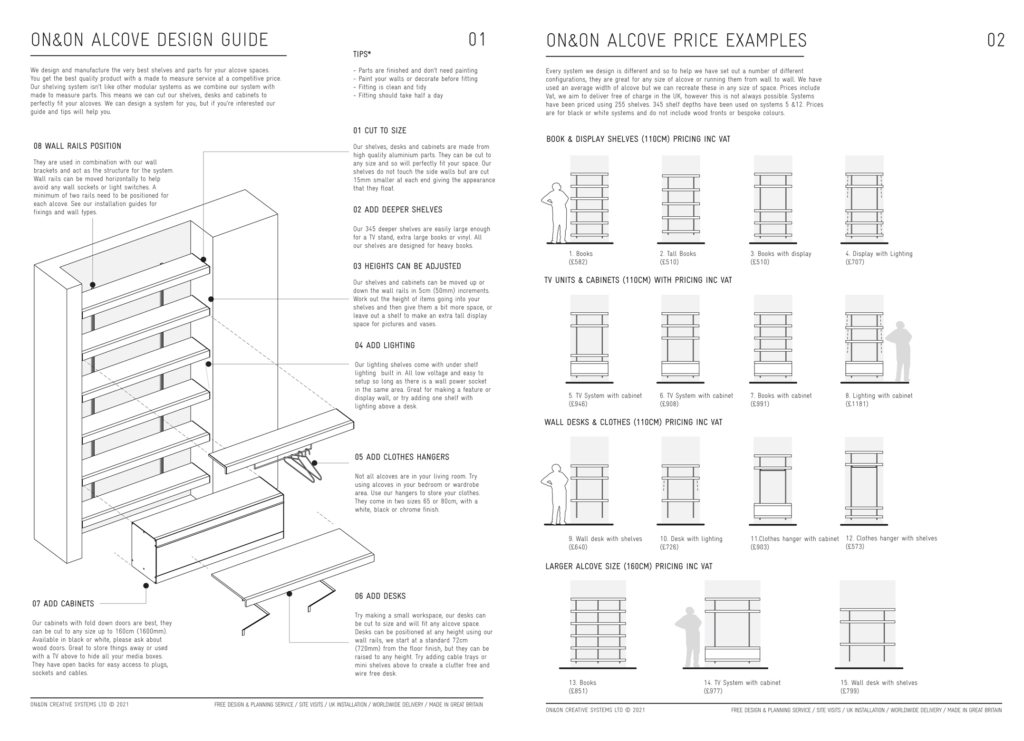 ON&ON alcove shelving costs