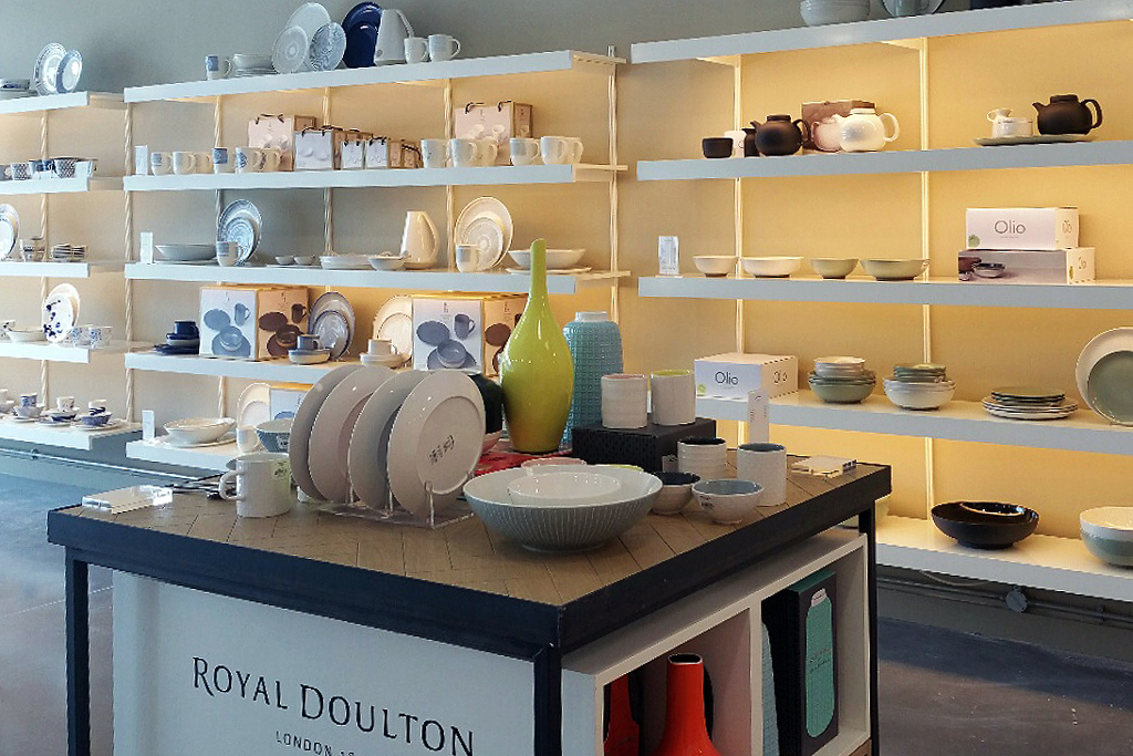 Our deep shelving is used to display Wedgewood products