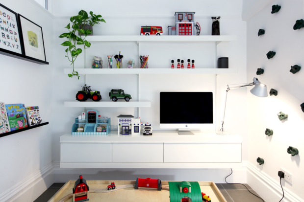 TV shelving unit and modular shelving system photo