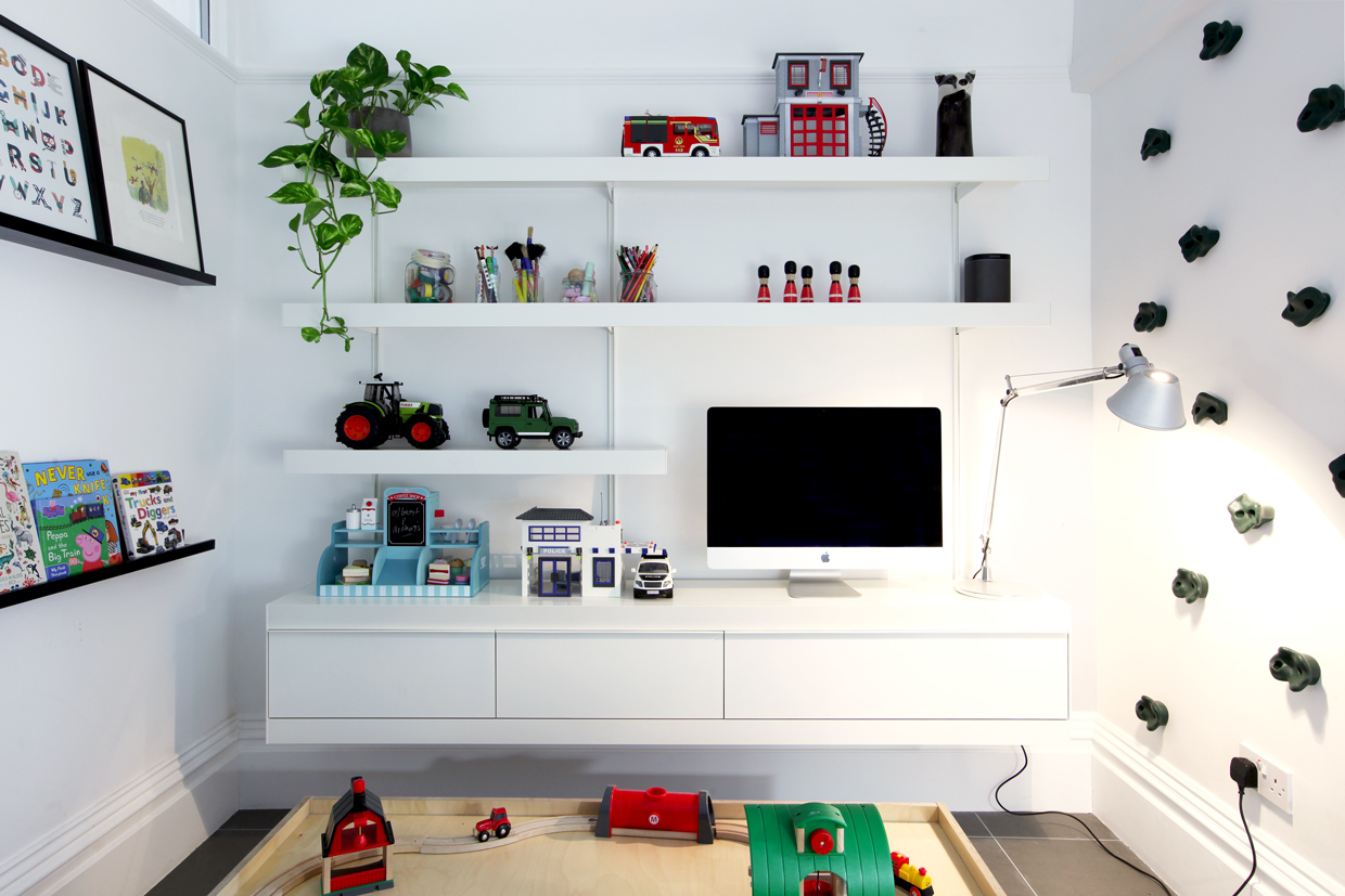 ON&ON tv shelving and playroom shelving system