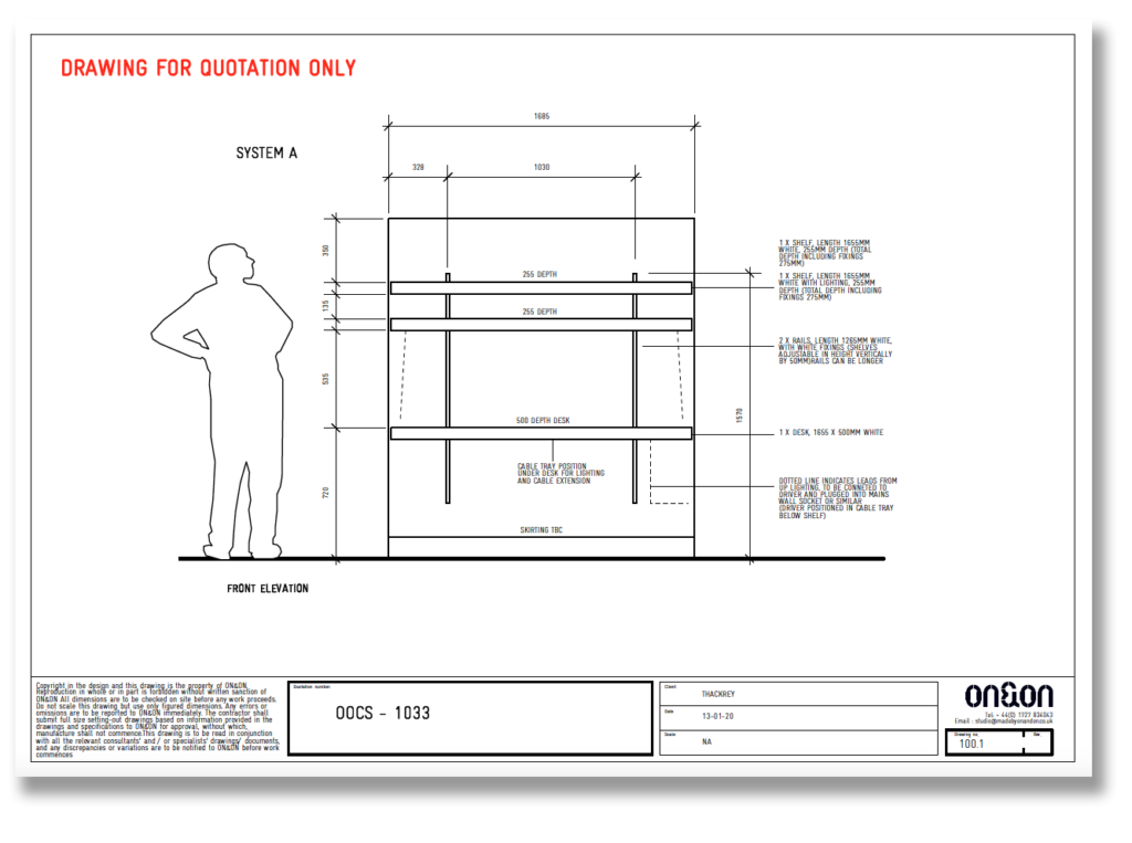 wall mounted desk drawing by ON&ON planners