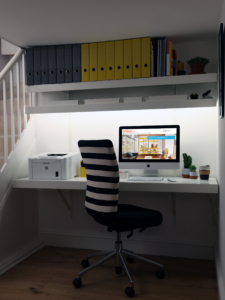 Floating wall desk with lighting