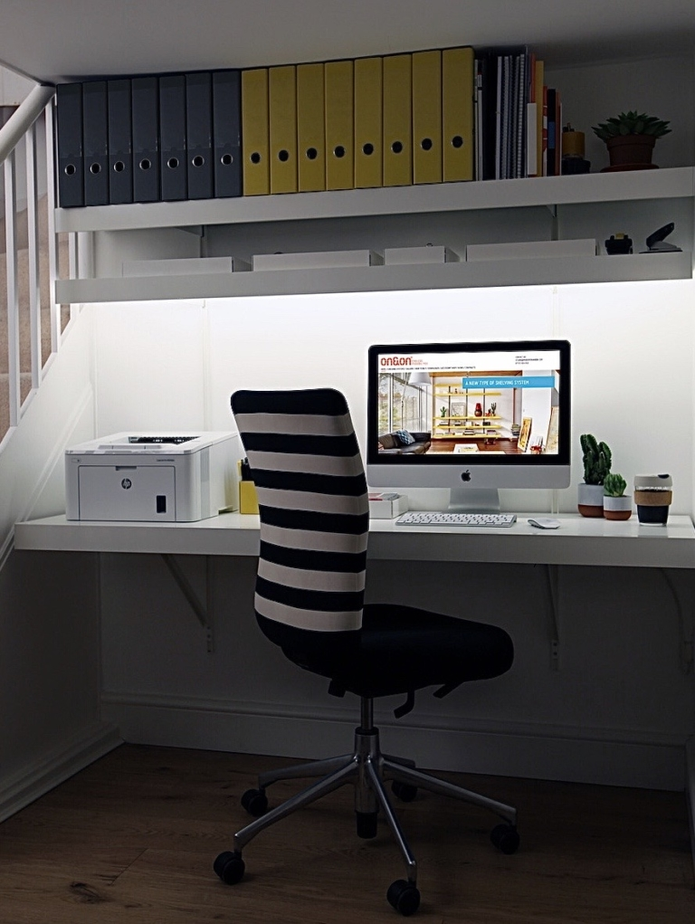 ON&ON wall to wall desk with shelves