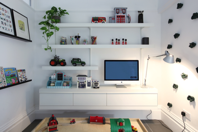 TV unit white shelving and cabinets