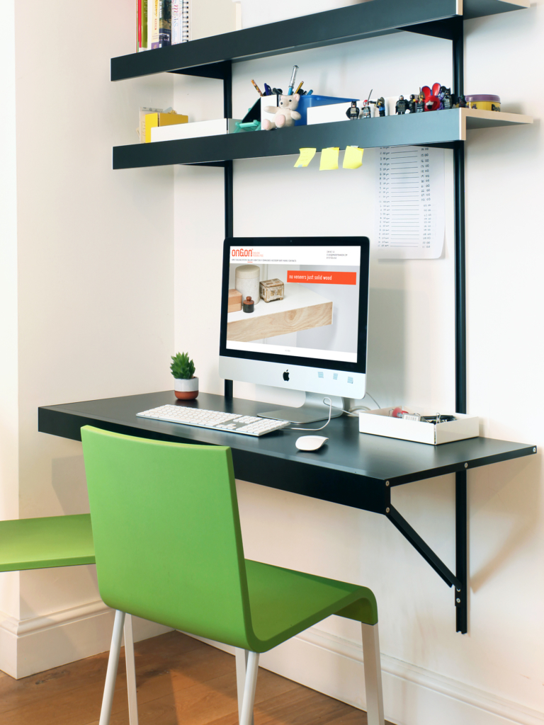 black wall floating desk
