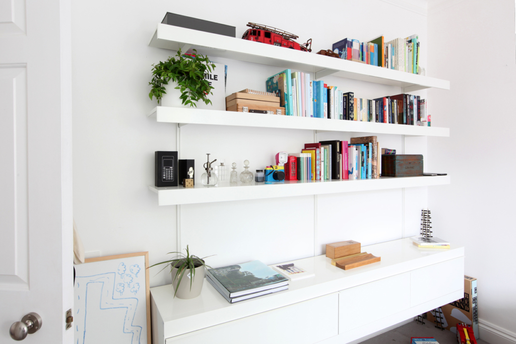 ON&ON white wall cabinets and shelves