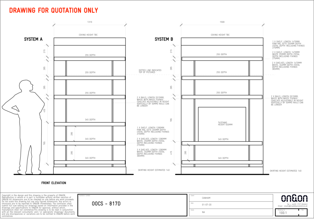ON&ON alcove shelving drawing
