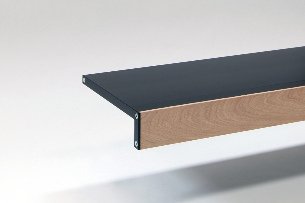 log black and oak wall shelf