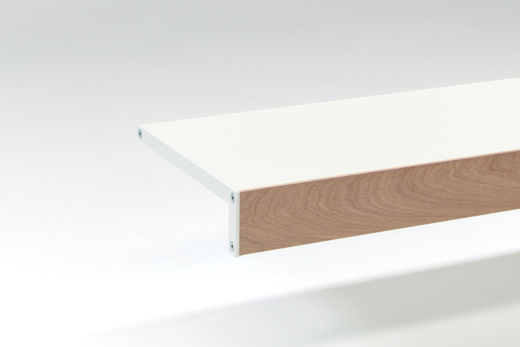modern white shelf with oak front