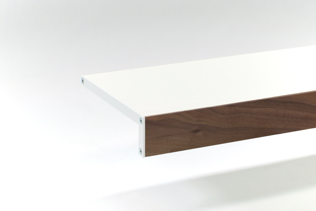 white and walnut shelf