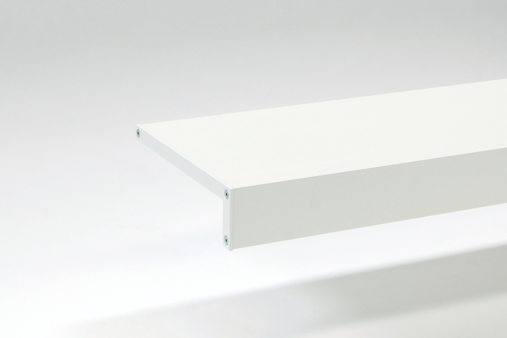 long white aluminium shelves