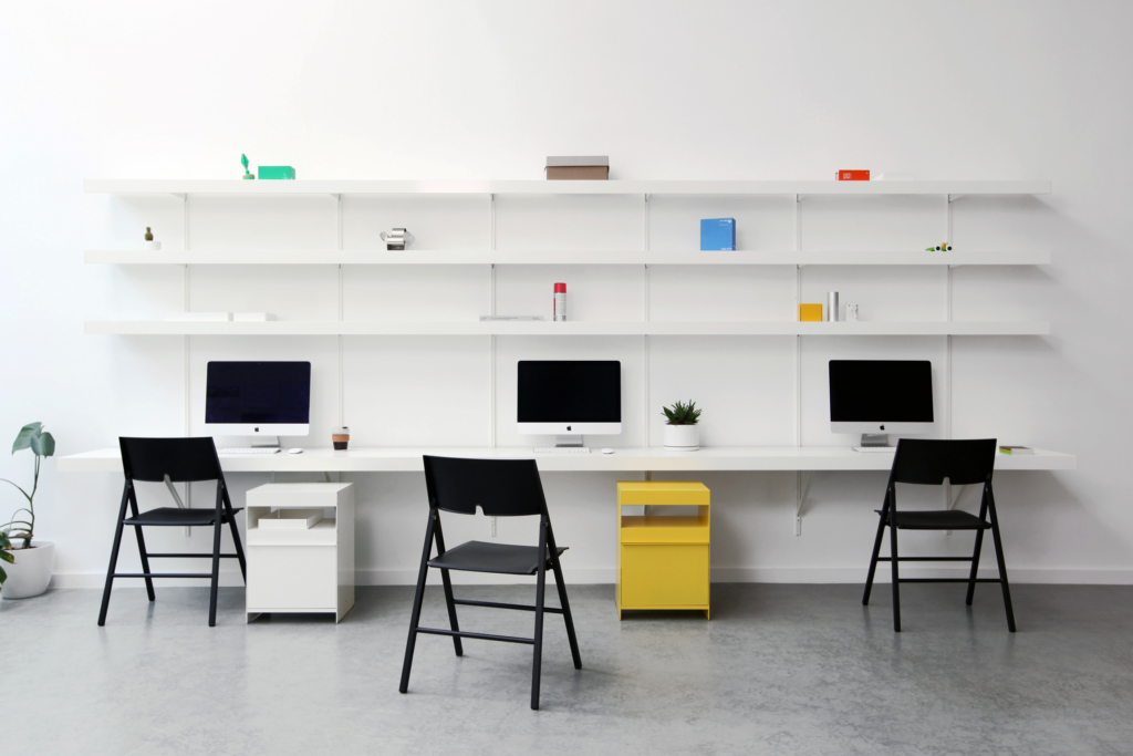 office wall shelving with large floating wall desk